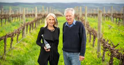 Mary Hamilton and her father Hugh Hamilton at their vineyard in McLaren Vale, SA, with the Oddball Georgian wine.